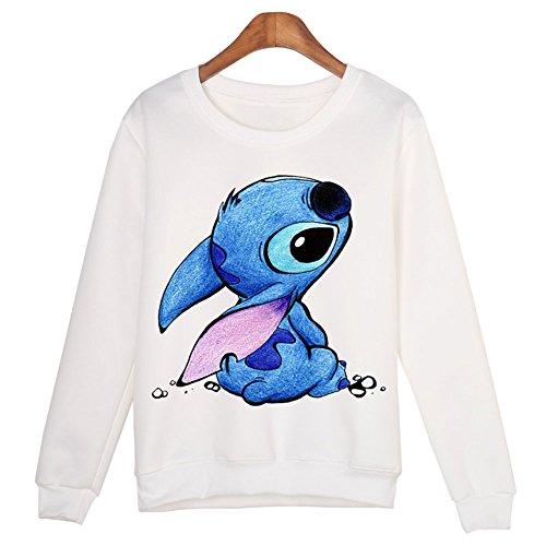 - Catamaran Women Cute Cartoon Stitch Printed Long Sleeve Sweatshirt