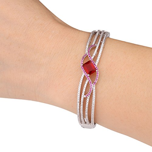 GULICX Ladies Jewelry Square Stone Red Bracelet Women Bangle Silver Tone Zircon White Gold Plated