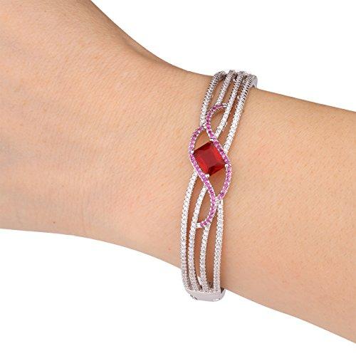 Rhinestone Swarovski Bangle (GULICX Ladies Jewelry Square Stone Red Bracelet Women Bangle Silver Tone Zircon White Gold Plated)