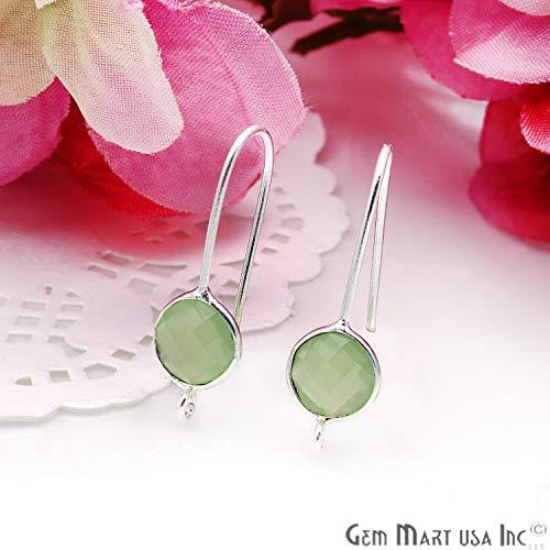 Green Chalcedony Gemstone Hook Earring Supplies, Silver Plated, Round Stone, DIY Earrings, Single Bail, 28X8MM, GemMartUSA (SPGC-90116)