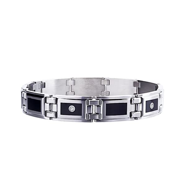 STEL-Stainless-Steel-Black-Enamel-Inlay-and-12ct-tw-Diamond-Bracelet-8-12