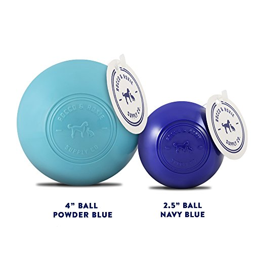 Rocco & Roxie Dog Toys Balls - Tough Nearly Indestructible Toy for All But the Most Aggressive Chewers - Balls for Large and Small Dogs - Made in USA (Powder Blue 4 inch ball)