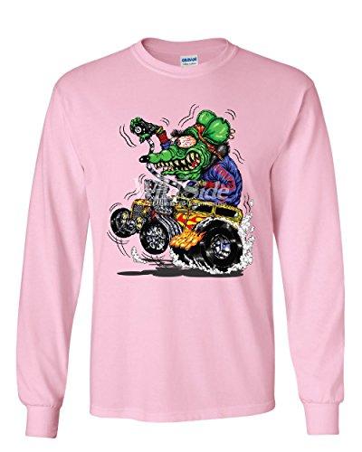 8 Ball Yellow Hot Rod Long Sleeve T-Shirt Crazy Green Monster Rat Muscle Car Tee Light Pink - Light Muscle Car Green