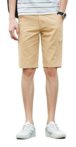 Plaid&Plain Men's Slim Fit Flat Front Twill Cotton Chino Shorts Khaki 28 by Plaid&Plain