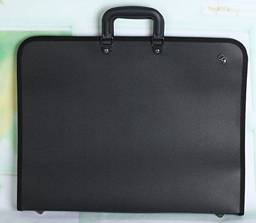 Kelaina Tragbar A2-Kunststoff-Portfolio Präsentation Ring Binder Art Aufbewahrungskoffer (schwarz)