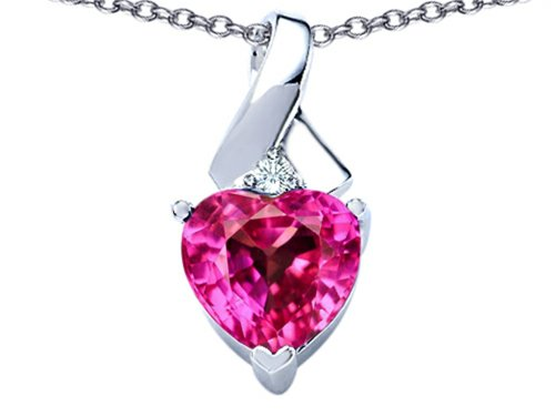 Star K 8mm Heart Shape Created Pink Sapphire Ribbon Pendant Necklace Sterling Silver
