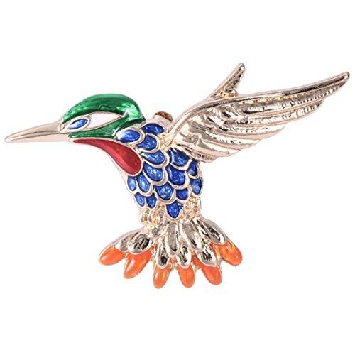 Leono 1PCS Vintage Bird Brooch Color Bird Hummingbird Multicolor Austrian Crystal pin Hummingbird Brooch