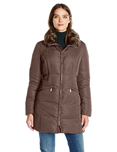Anne Klein Outerwear - Anne Klein Women's Soft Touch Down Puffer Coat, Mushroom, Large