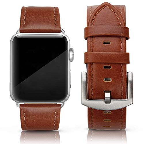 (SWEES Leather Band Compatible for iWatch 42mm 44mm, Genuine Leather Retro Vintage Wristband Compatible iWatch Series 4, Series 3, Series 2, Series 1, Sports & Edition Men, Cognac Brown)