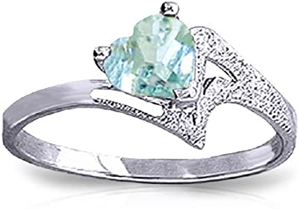 Galaxy Gold 14k White Gold Heart-shaped Natural Aquamarine Ring - Size 8.0