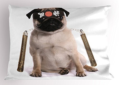 26 Pug Costumes (Pug Pillow Sham by Ambesonne, Ninja Puppy with Nunchuk Karate Dog Eastern Warrior Inspired Costume Pug Image, Decorative Standard Size Printed Pillowcase, 26 X 20 Inches, Cream Black Gold)