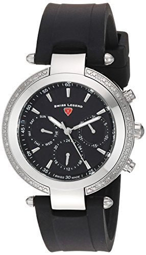 Swiss Legend Women's 'Madison' Quartz Stainless Steel and Silicone Casual Watch, Color:Black (Model: 16175SM-01)