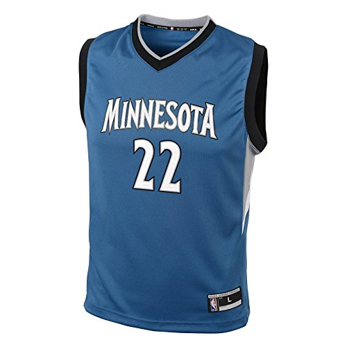 fan products of NBA Minnesota Timberwolves Andrew Wiggins Youth Boys Replica Player Road Jersey, Large (14-16), Capital Blue