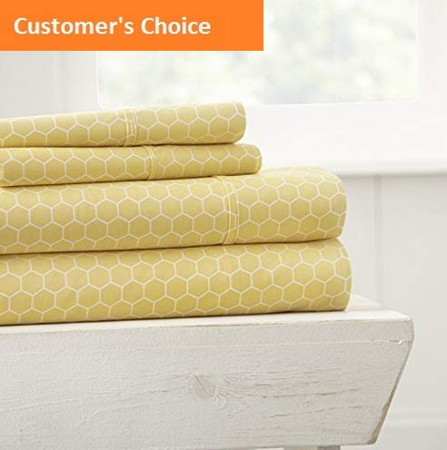 - Mikash New Soft 4 Piece Sheet Set Honeycomb Patterned Queen Yellow | Style 84600992