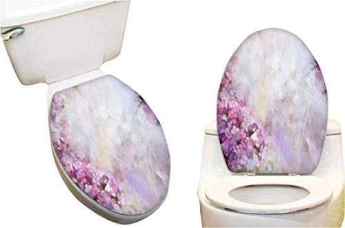 (Waterproof Decorative Toilet Cover Stickers Roman Hyacinth Petals and Apricot in Grunge Colors Lilac White Toilet Seat Sticker Decoration 14