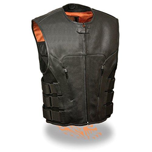 Milwaukee Leather Men's Bullet Proof Look Swat Motorcycle Club Vest w/Single Panel Back & Dual Inside Gun Pockets -