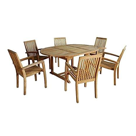 Salon de jardin en bois de teck MIDLAND 6/8 places: Amazon ...