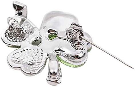 Doitsa 1PCS Femme Bijoux Broche Strass Forme des Tr/èfle /à Quatre Feuilles en Cristal Brooch Fantaisie V/êtements Accessoires Broche Epingle Size 6.5 3.5cm Vert