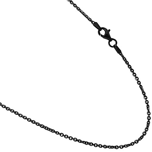(Black Rhodium plated Over Sterling Silver 2mm Rolo Styled Link Necklace Chain. 16,18,20,24,30 36
