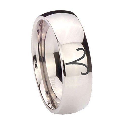 6MM Titanium Aries Zodiac Silver Dome Women's Ring Size 7 (Aries Ring)