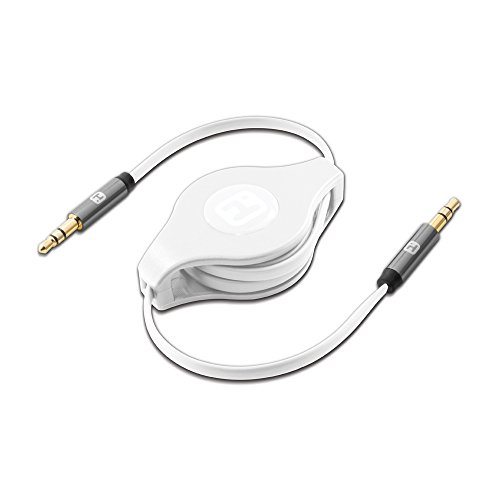 iHome | Retractable 2-foot Male to Male Audio Cable - White (See (Eclipse Split Compact)