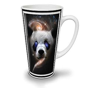 Panda Galaxy Face Animal Zoo White Ceramic Latte Mug 17 oz | Wellcoda