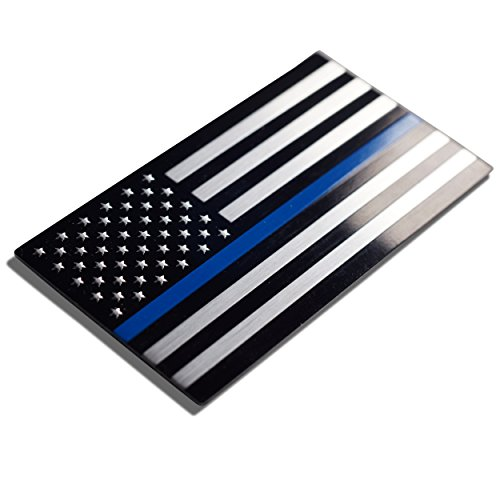Thin Blue Line American Flag Sticker/ Decal | Heavy Duty Aluminum Alloy for Car, Truck, SUV | In Support of Police Officers and Law (Blue Emblems)