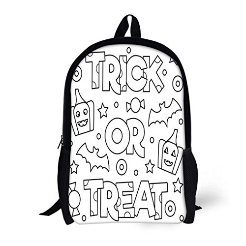 Pinbeam Backpack Travel Daypack Abstract Trick Treat Coloring Page Adorable Adult Antistress Waterproof School Bag -