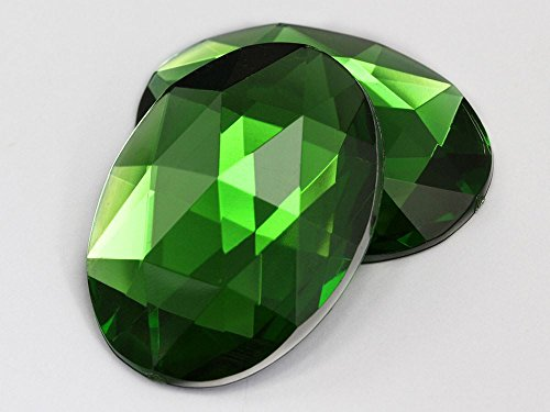 40x30mm Green Peridot H120 Flat Back Oval Acrylic Gemstones Pro Grade 4 (Green Peridot Gemstone)