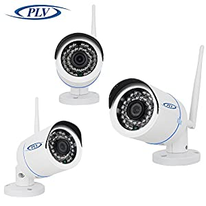 [ HD-Wireless]PLV 4CH NVR Wireless Security Camera System + 4xHD 1.0MP WiFi In/Outdoor Fixed IP Cameras, Super Night Vision, IP66 Weatherproof-2TB HDD by PLV
