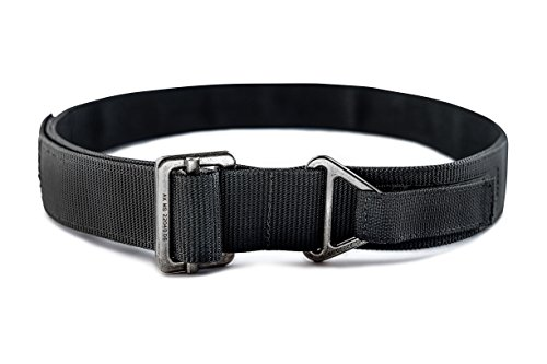 WOLF TACTICAL Heavy Duty Rigger's Belt - Stiffened 2-Ply Emergency Rescue Belt for Concealed Carry EDC Survival Wilderness Hunting CCW Combat Duty (Black (Gray Buckle), XL - Fall Style Mens Guide