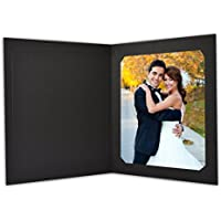 Golden State Art, Cardboard Photo Folder for 8x10/6x8 (Pack of 25) Cut corners GS010 Black Color