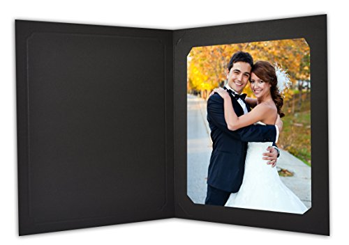 Golden State Art, Cardboard Photo Folder for 8x10/6x8 (Pack of 25) Cut corners GS010 Black Color by Golden State Art