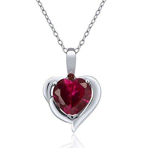 1.72 Ct Heart Shape Red Created Ruby Red Garnet 925 Sterling Silver Pendant