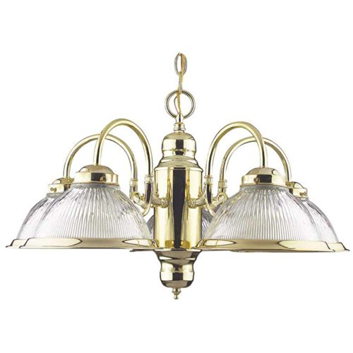Sunset Lighting F6313-10 Chandelier with Clear Prismatic Glass, Polished Brass Finish (Prismatic Light 5 Chandelier)