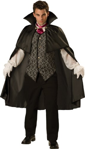 InCharacter Costumes Men's Midnight Vampire Costume, Black, X-Large