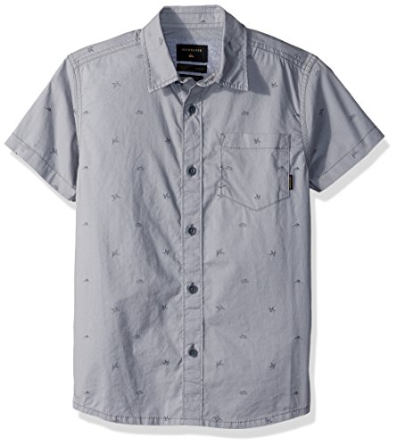 Button Quiksilver Shirt Up - Quiksilver Big Short Sleeve Fuji Mini Motif BOY Button UP Shirt, Sleet mo, XS/8