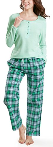 Ink+Ivy Pajamas for Women, Fleece & Cotton Woman Pajama Set - Long Sleeve Rib Henley Top & Flannel Pants Brook Green XL (Henley Sleep Top)