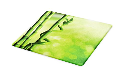 Lunarable Green Cutting Board, Bamboo Stems Nature Ecology Sunbeams Soft Spring Scenic Spa Health Relaxation, Decorative Tempered Glass Cutting and Serving Board, Large Size, Green Pale Green by Lunarable