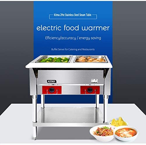 120 V Commercial Steam Table – KITMA 2 Pot Stainless Steel Electric Food Warmer, Buffet Server for Catering and Restaurants