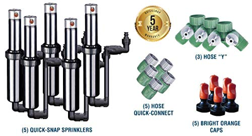 Quick-Snap QSK-74 In-Ground 5-Inch Pop-Up Adjustable Sprinkler 5-Pack With Quick Hose Connectors And Splitters ()
