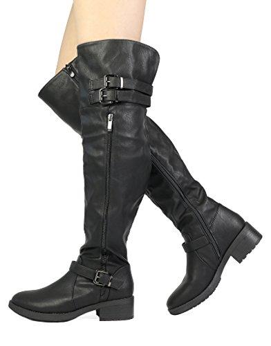 TRAUM-PAAR-Frauen Kniehohe und herauf Reitstiefel (breites Kalb verfügbar) Schwarz-PU