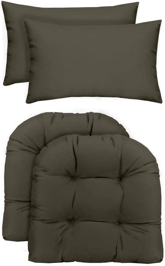 RSH Décor Indoor/Outdoor - 2 U-Shape Large Wicker Chair Cushions & Bonus Lumbar/Throw Pillows (2 (21