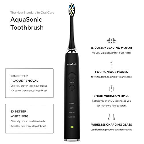 AquaSonic Black Series Pro Ultra Whitening 40,000 VPM Rechargeable Electric  Toothbrush