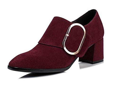 De WineRed De Metal De Zapatos Casuales Mujer Grueso De Helado Zapatos Cuero Hebilla MUYII De Tacón pwEUqZ0qx