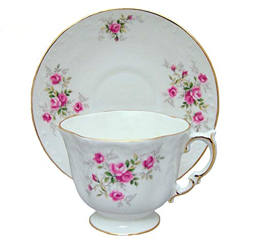 - SCATTER ROSE Vintage Embossed Tea Cup and Saucer - Fine English Bone China