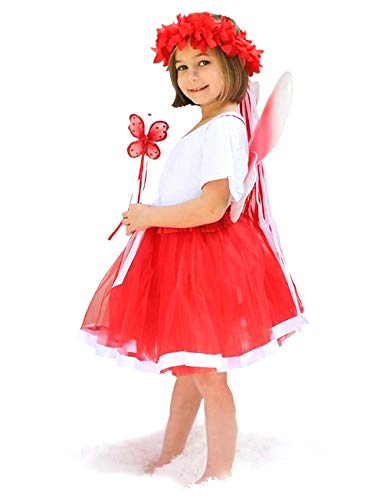 Enchantly Girls Red Holiday Fairy Wings, Tutu, Wand, Halo Fits Age 3-8]()