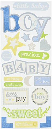 me & my BIG ideas Self-Adhesive Designer Chipboard, Baby Boy, Flock Baby Chipboard