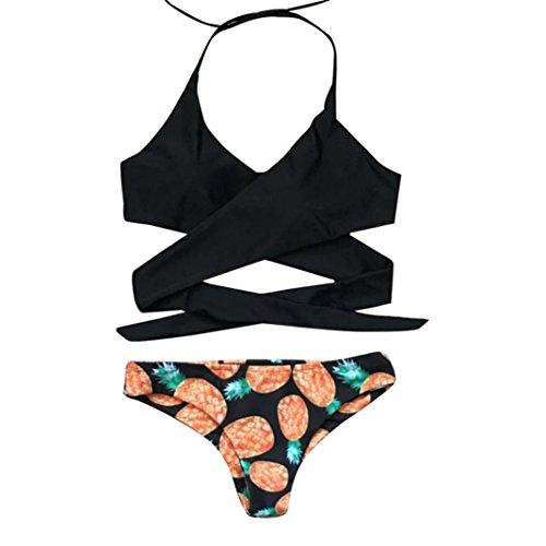 Price comparison product image Women's Halter Top Printed Tie Side Bottom Swimwear Bikini Triangle Bathing Suit (Black, US Size:8-10)