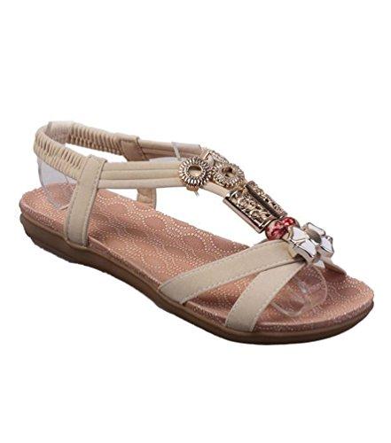 Yiiquan Mujer Sandalias Bohemia Con Cuentas Zapatillas T-Strap Sandalias De Playa Estilo3 Beige